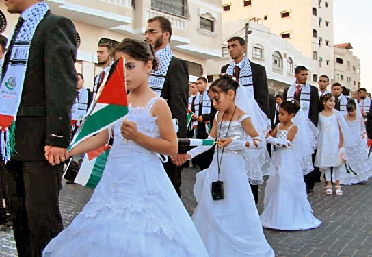 Mass Muslim Marriage in Gaza 450 Grooms Wed GIRLS Under Ten!