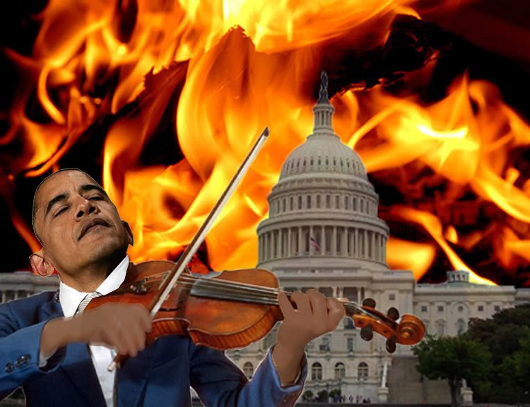 obama fiddling washington burning