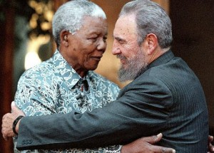 File photo of Cuba's President Fidel Castro and former South Africa's President Mandela in Johannesburg