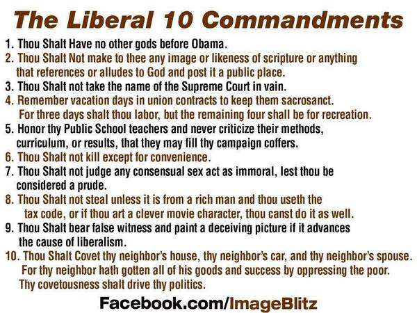 Liberal 10 Commandments